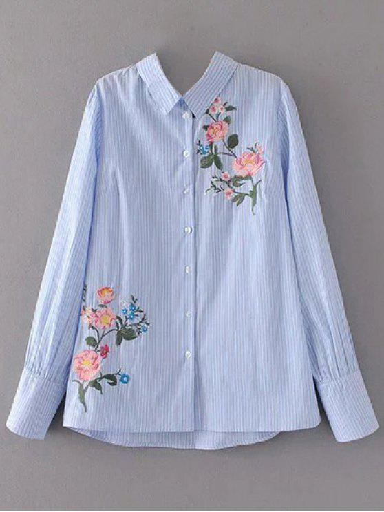 online Cutout Floral Embroidered Striped Blouse - STRIPE L