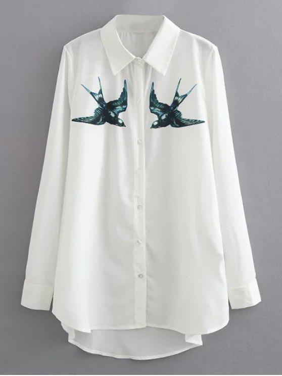 Schwalben-Drucken Freizeithemd - Weiß S