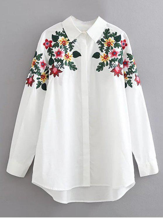 trendy Floral Embroidered Cotton Collared Shirt - WHITE M