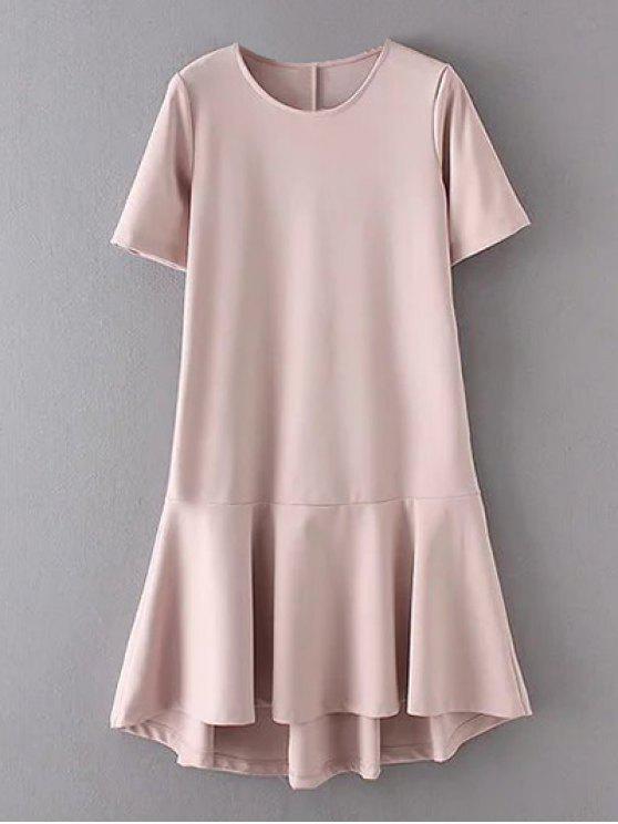 women Peplum Hem Shift Dress - PINK M