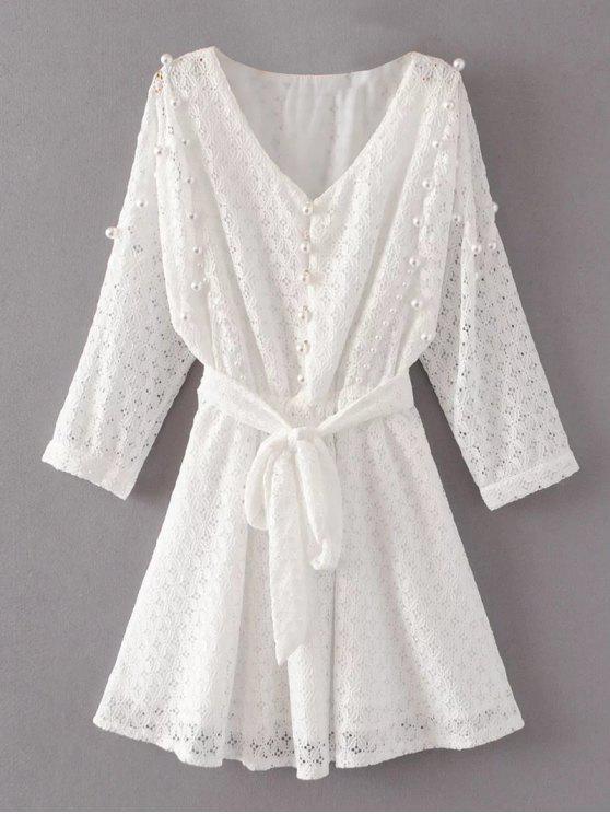 Mini Vestido de Encaje con Cuentas - Blanco S