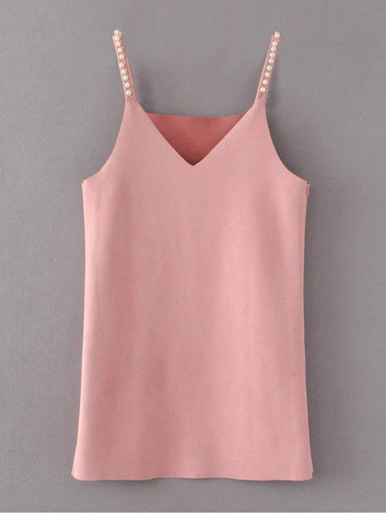 trendy Beaded Faux Suede Slip Dress - PINK S