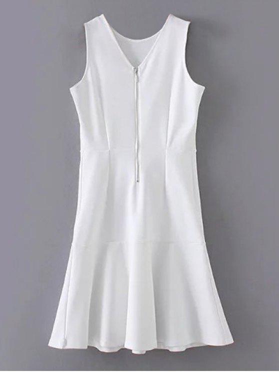 Peplum Hem mangas Vestido direito - Branco S
