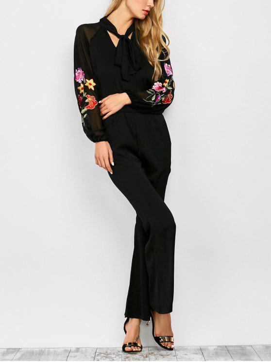 unique Embriodered Flare Leg Pussy Bow Jumpsuit - BLACK L