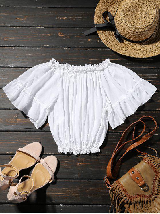 Hombro de la mariposa de la manga de la blusa - Blanco Única Talla