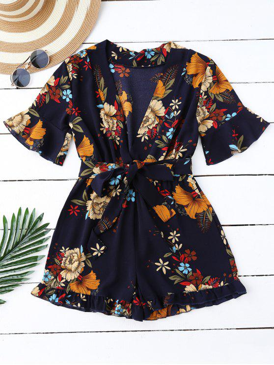 ladies Bell Sleeve Floral Plunging Neck Romper - PURPLISH BLUE M