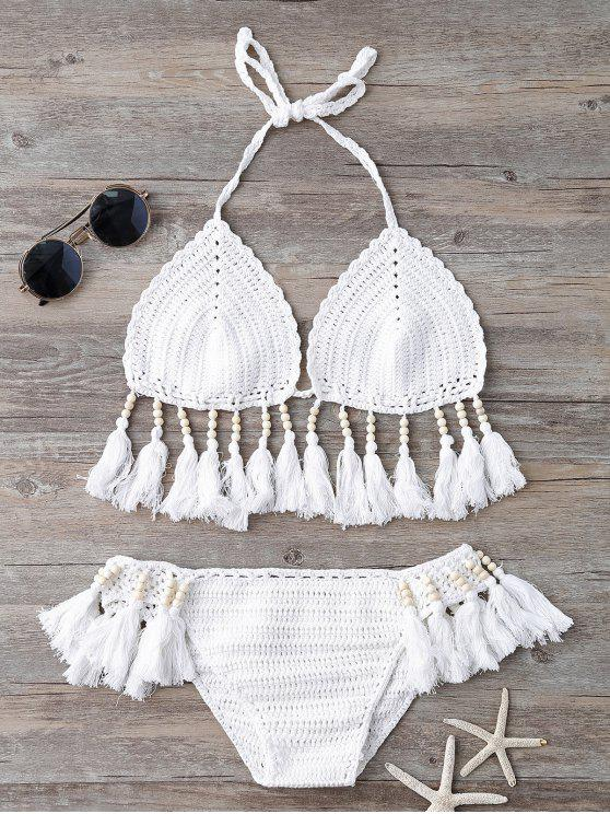 lady Beads Tassels Crochet Bikini Swimwear - WHITE ONE SIZE(FIT SIZE XS TO M)