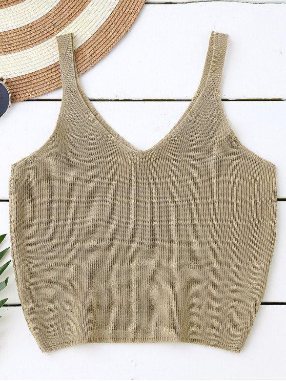 affordable Knitting Cropped Tank Top - DARK KHAKI