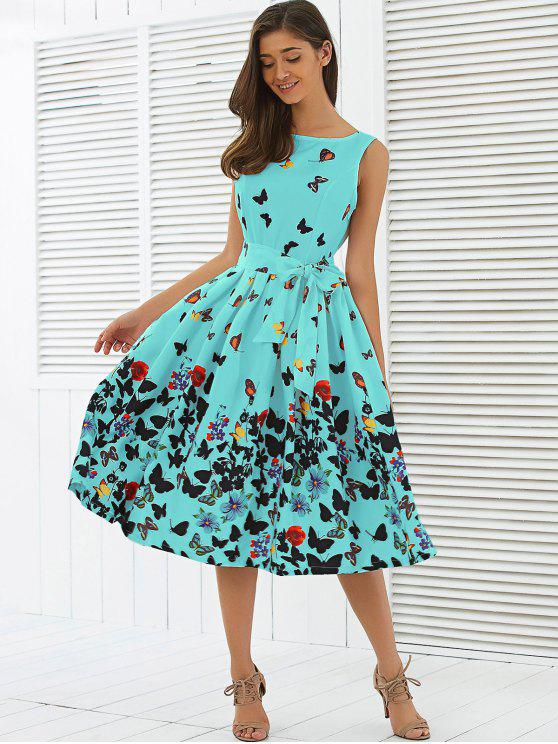 ace59db9c9 31% OFF] 2019 Sleeveless Floral Print Self Tie A Line Dress In LAKE ...