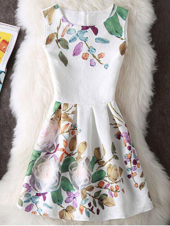 Geprägte Blumen-Druck Ärmelloses  Minikleid - Weiß S