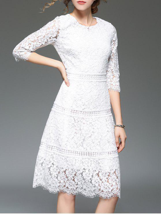 فستان دانتيل طباعة الأزهار عالية الخصر - أبيض 2XL