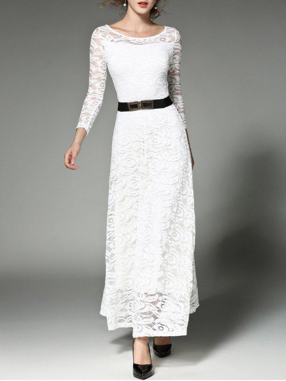 فستان عالية الخصر ماكسي دانتيل مع حزام - أبيض XL