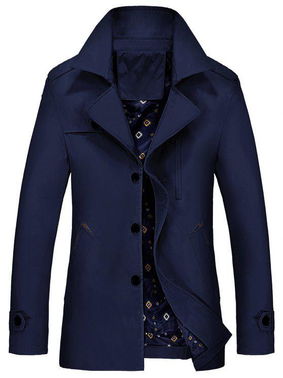 معطف الخندق بسحاب مطرز - الأرجواني الأزرق XL