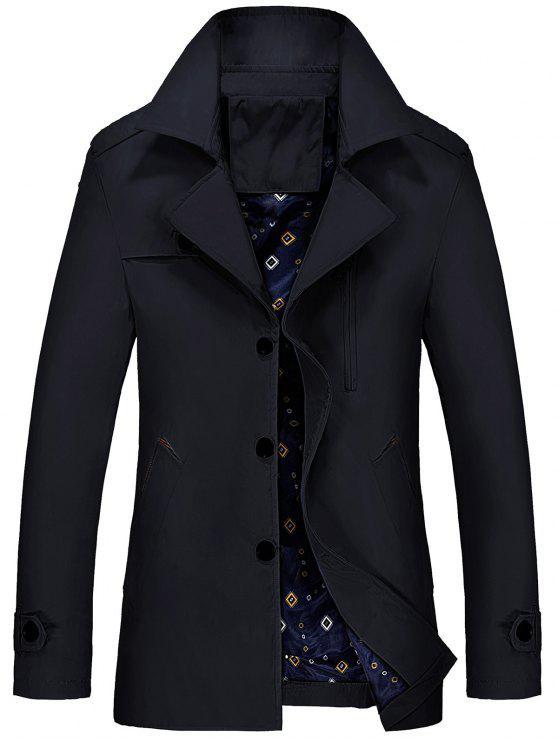 معطف الخندق بسحاب مطرز - أسود XL