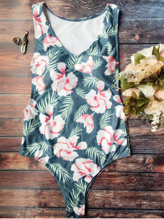 fancy High Cut Tropical Print Swimwear - BLUE L