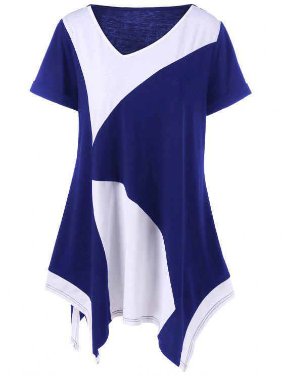 T-shirt Asymétrique Grande Taille à Manches Retroussées - Bleu et Blanc 2XL