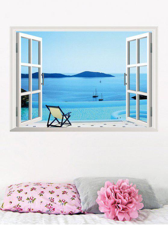 قابل للإزالة 3D ساحل البحر وهمية نافذة الجدار ملصق - البحيرة الزرقاء 50 * 70CM