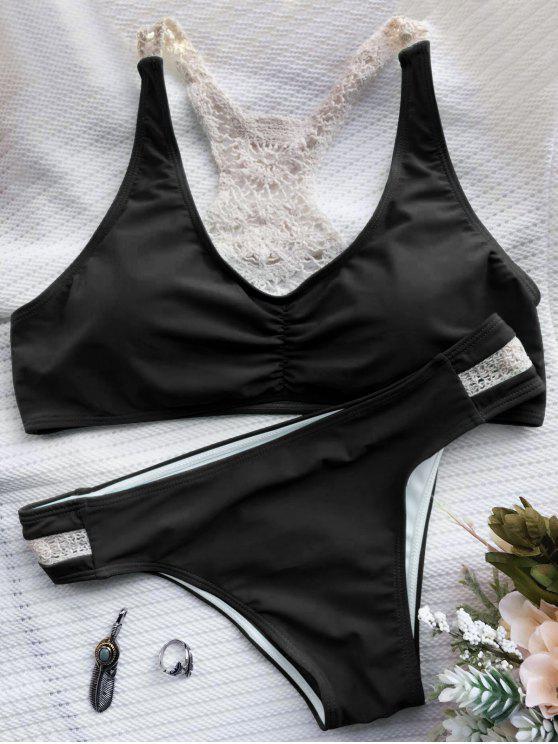 sale Crochet Panel Racerback Bikini - BLACK S