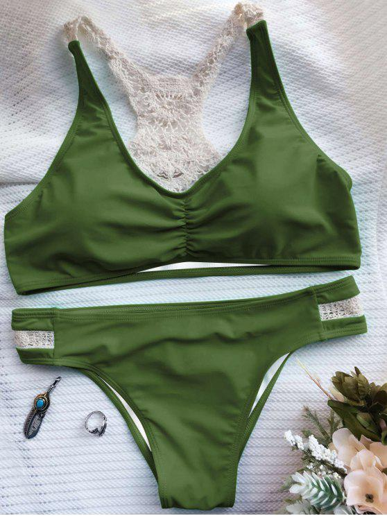 affordable Crochet Panel Racerback Bikini - ARMY GREEN L