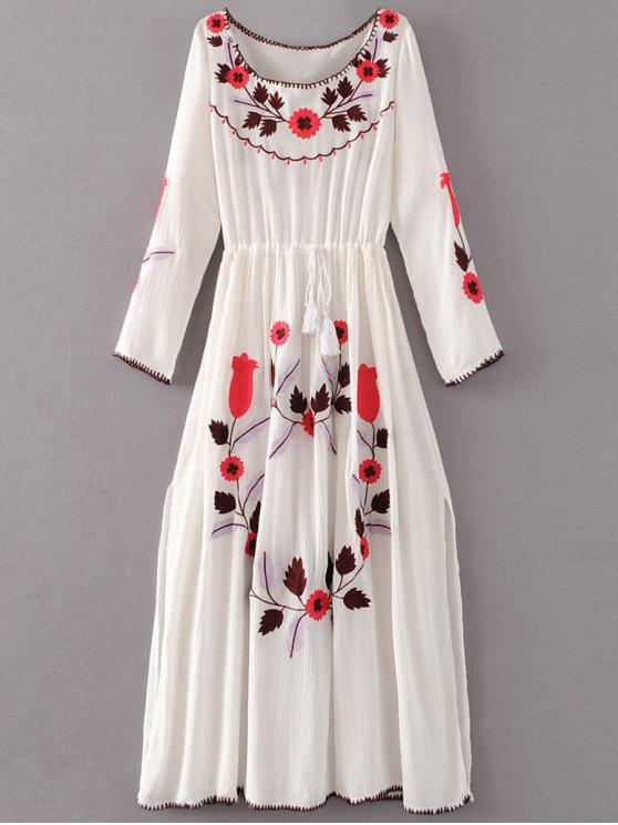 fancy Floral Embroidered Long Sleeve Slit Vintage Dress - WHITE L