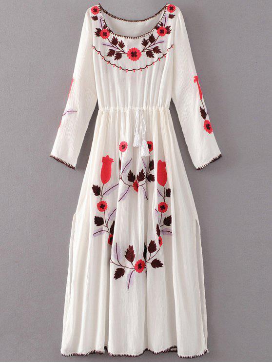 Floral bordado del vestido largo de la manga de hendidura - Blanco S