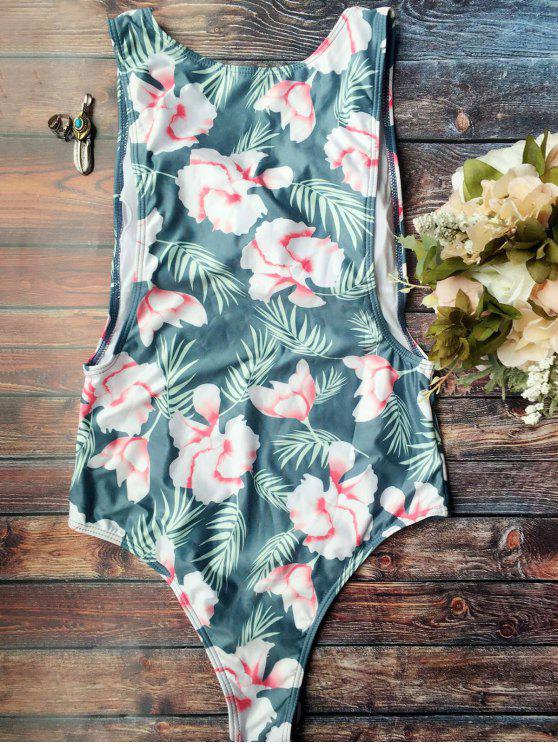 fancy High Cut Tropical Print Swimwear - BLUE L