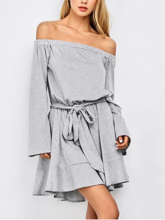 new Off The Shoulder Flare Sleeve Dress - LIGHT GRAY S