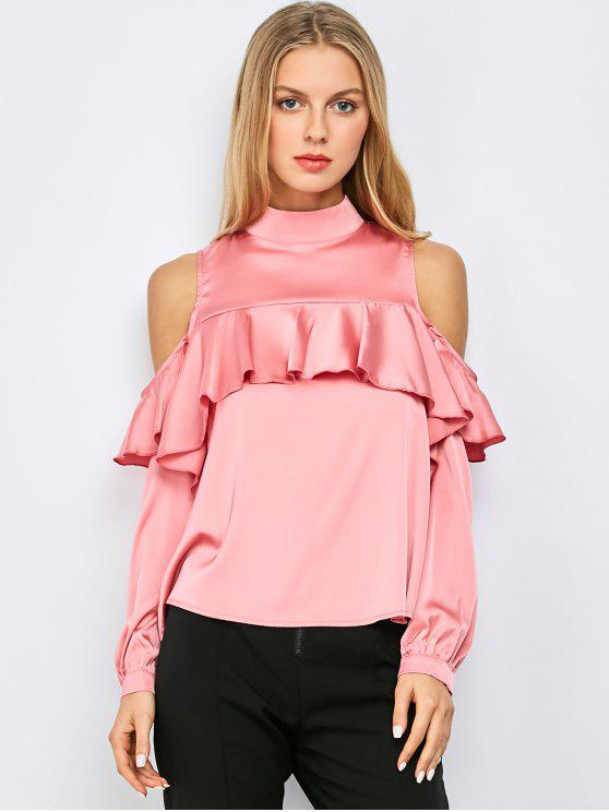 women Stand Neck Cold Shoulder Flounced Blouse - PINK M