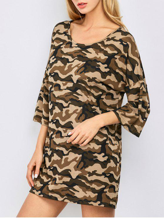 women Oversized Camouflage Casual Dress - BROWN M