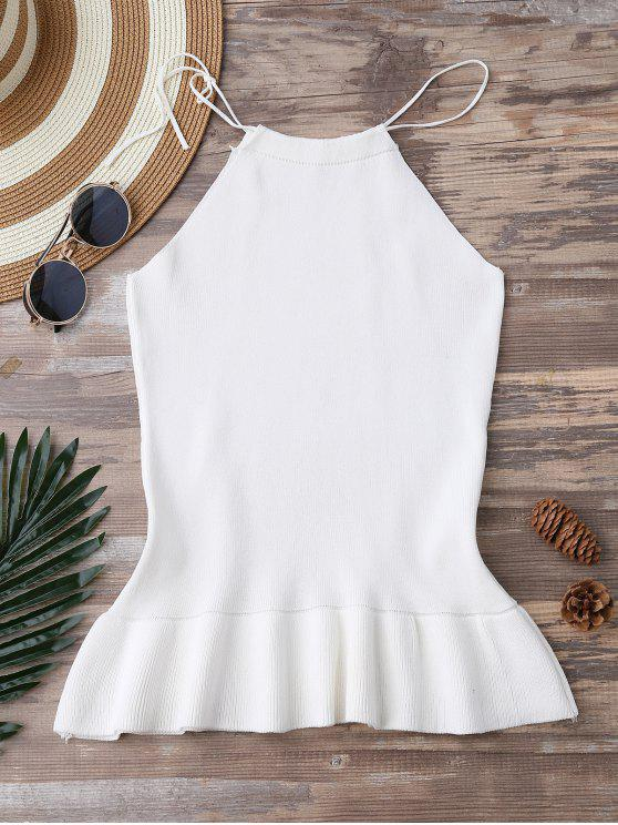 outfits High Neck Ruffle Hem Knitted Tank Top - WHITE ONE SIZE