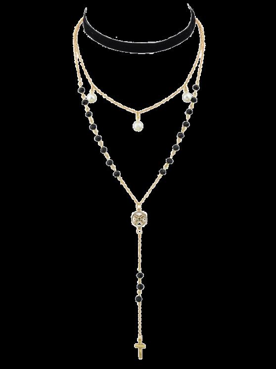 women's Faux Pearl Crucifix Butterfly Choker Necklace - GOLDEN