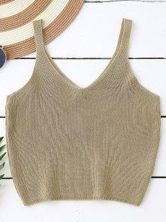 Knitting Cropped Tank Top - Dark Khaki