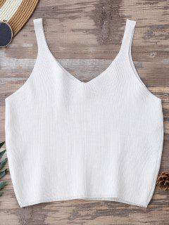 Knitting Cropped Tank Top - White