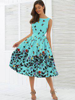 Sleeveless Floral Print Self Tie A Line Dress - Lake Green S