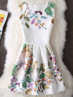 En Relieve Y Estampado Floral Sin Mangas Mini Vestido - Blanco M
