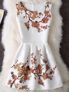 Wintersweet Imprimer Mini Robe Sans Manches - Blanc Xl