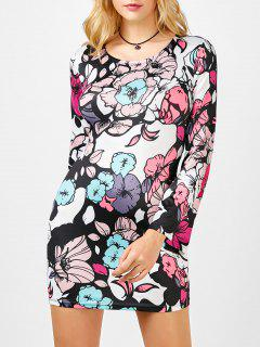 Floral Print Cut Out Bell Sleeve Dress - Xl