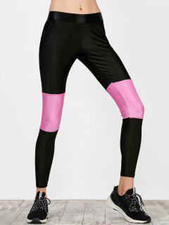 Color Block Workout Running Leggings - Black S