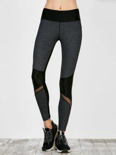 Colorblock Mesh Panel Leggings - Smoky Gray L