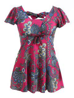 Maillot De Bain à Pattes à Motifs Bowknot Taille Plus - Rose Rouge 6xl