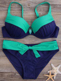 Plus Size Pendant Decorated Two Tone Bikini - Blue And Green Xl