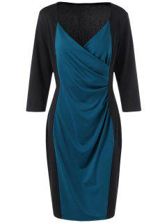 Two Tone Plus Size Long Sleeve Sheath Surplice Dress - Blue And Black 4xl