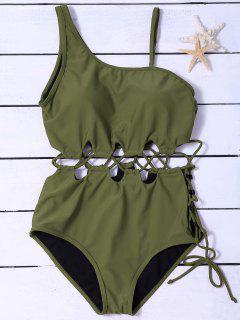 Costume De Bain Amincissant Asymétrique à Lacets - Vert Armée 2xl