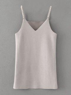 Beaded Faux Suede Slip Dress - Gray S