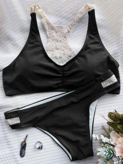 Crochet Panel Racerback Bikini - Black L