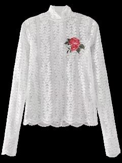 Haut Floral En Dentelle Brodée - Blanc S