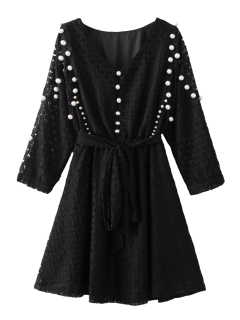 Mini Beaded Lace Dress - Black M