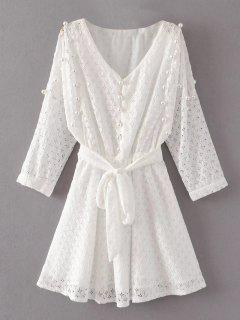 Mini Beaded Lace Dress - White L