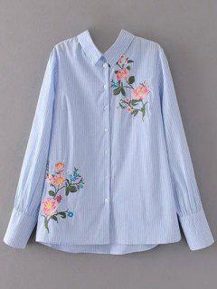 Cutout Floral Embroidered Striped Blouse - Stripe L