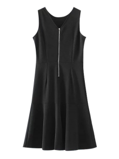 Peplum Hem Sleeveless Sheath Dress - Black S